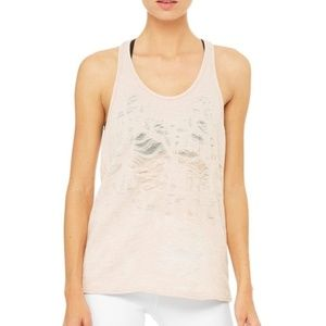 Alo Yoga Pure Tank Distressed Racerback Large NEW